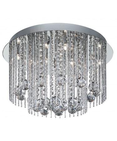 Searchlight Beatrix - Flush Ceiling Light - Round - Chrome - Crystal Drops