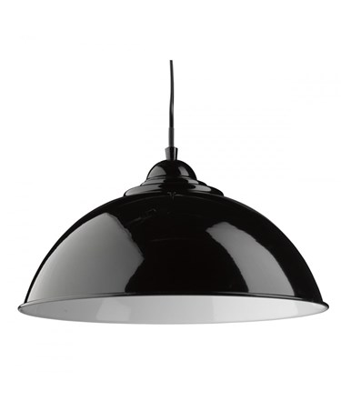 Searchlight Sanford Modern Ceilng Pendant Half Dome - Black With White Inner