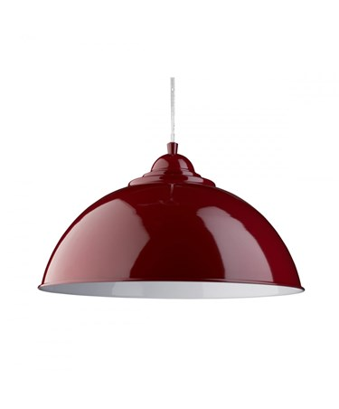 Searchlight Sanford Modern Ceilng Pendant Half Dome - Red With White Inner
