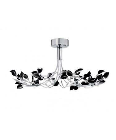 Searchlight Wisteria Semi-Flush 10 Light - Chrome Fitting With Black Leaves