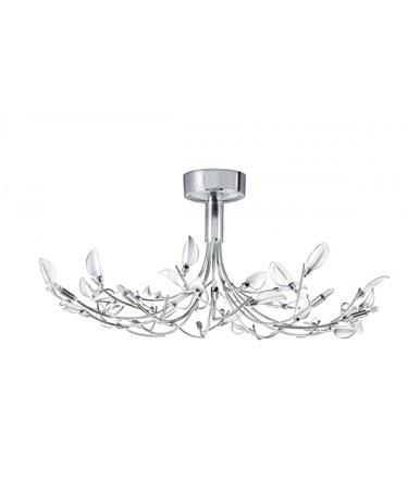 Searchlight Wisteria Semi-Flush 10 Light - Chrome - White Frosted Glass Leaves