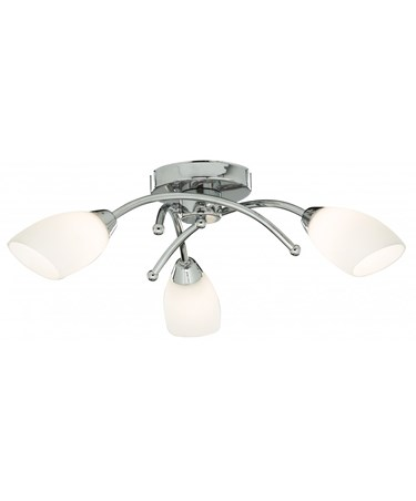 Searchlight Opera 3 Light Ceiling Flush Fitting - Chrome - Opal Glass