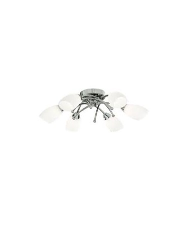 Searchlight Opera 6 Light Ceiling Flush Fitting - Chrome - Opal Glass
