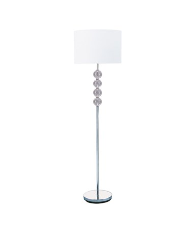 Searchlight Floor Lamp - Chrome & Glass Balls - White Fabric Shade