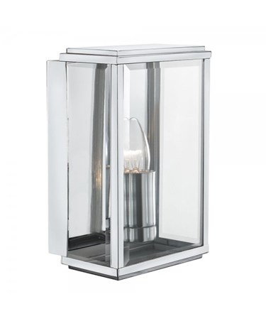 Searchlight Outdoor Wall & Porch  Light - Satin Silver Rectangle Box - Candle