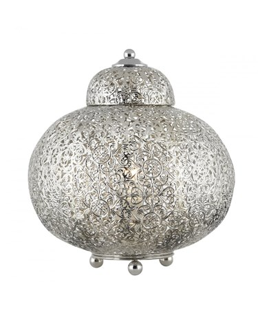 Searchlight Moroccan Table Lamp - Shiny Nickel - Elaborate Patterned Finish