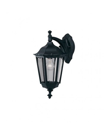 Searchlight Bel Aire Traditional Outdoor Wall Downlight - Black - Clear Glass
