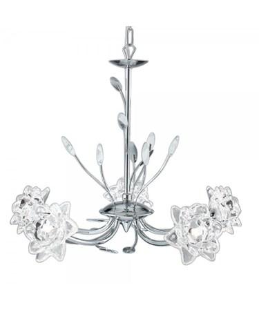 Searchlight Bellis Pendant Ceiling 5 Light - Chrome - Clear Flower Glass