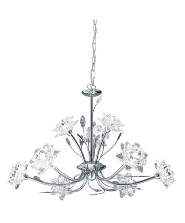 Searchlight Bellis Pendant Ceiling 9 Light - Chrome - Clear Flower Glass