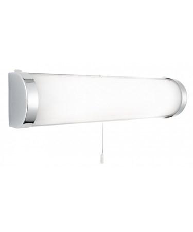 Searchlight Bathroom Wall Light - White Glass Tube - Chrome - Pull Cord - Ip44