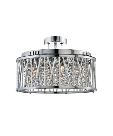 Searchlight Elise Ceiling Pendant 5 Light - Chrome - Clear Crystal Drops
