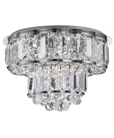 Searchlight Hayley Flush Ceiling 4 Light - Clear Crystal Drops