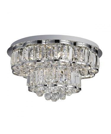 Searchlight Hayley Flush Ceiling 6 Light - Clear Crystal Drops