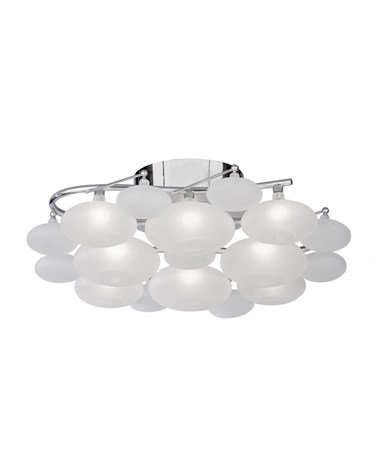 Searchlight Dulcie Ceiling 8 Light - Chrome - Frosted Glass Pebble Shades