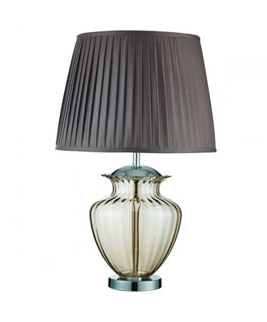 Searchlight Table Lamp Large Glass Urn - Amber Glass - Chrome - Brown Shade