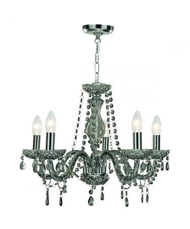 Searchlight Marie Therese  5 Light Chandelier - Smoked Grey Glass