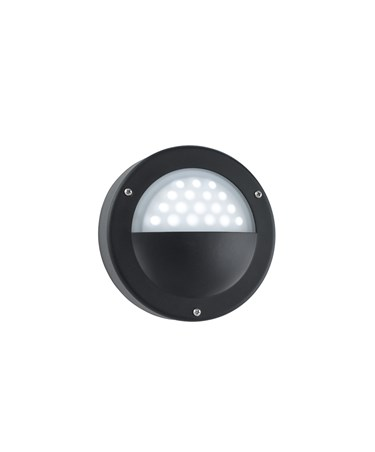 Searchlight Led Outdoor Wall Light - Black - Circular - White Led - Acid Glass