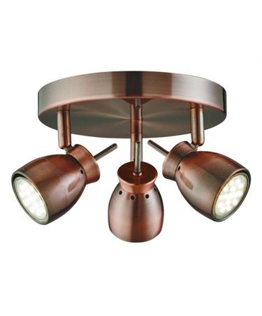 Searchlight Jupiter Round Ceiling 3 Spotlight - Antique Copper