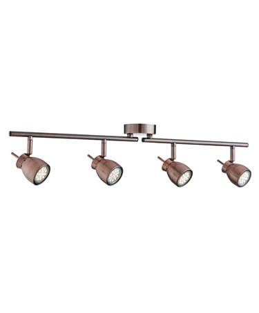 Searchlight Jupiter Ceiling 4 Spot Bar Spotlight - Antique Copper - Adjustable