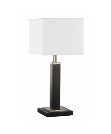 Searchlight Waverley Modern Rectangular Table Lamp - Brown Wood & White Shade