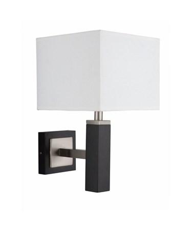 Searchlight Waverley Modern Rectangular Wall Light - Brown Wood & White Shade