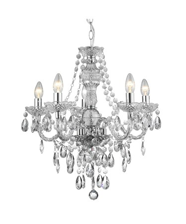 Searchlight Marie Therese  5 Light Chandelier - Chrome - Crsytal