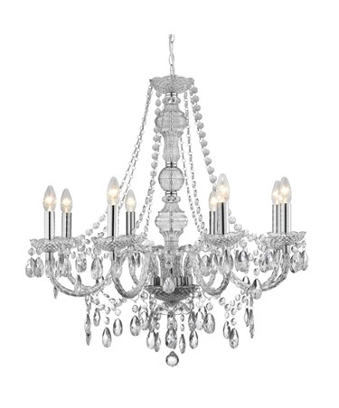 Searchlight Marie Therese  8 Light Chandelier - Chrome - Crsytal