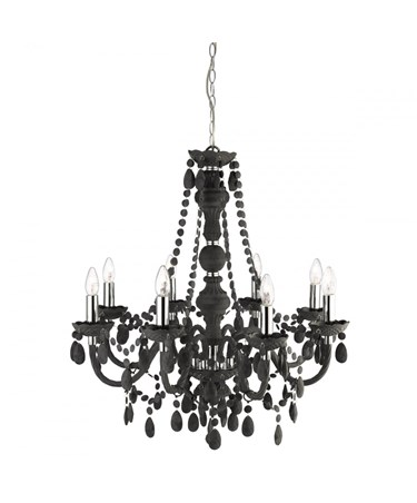 Searchlight Marie Therese  8 Light Chandelier - Black Glass