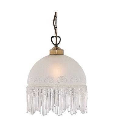 Searchlight Victoriana Antique Brass Pendant Light - Beaded Glass Shade