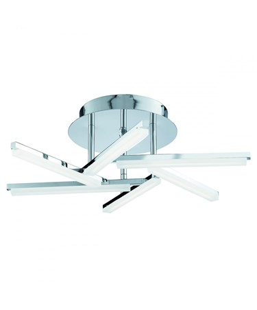 Searchlight Solexa Criss Cross Arm Semi-Flush Led Ceiling Light - Chrome