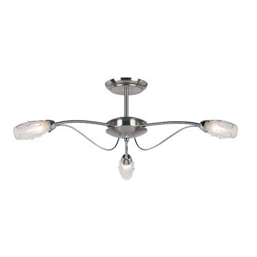Endon Mercury Semi Flush Ceiling Light - Chrome & Glass - 3 Light