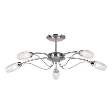 Endon Mercury Semi Flush Ceiling Light - Chrome & Glass - 5 Light