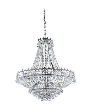 Searchlight Versailles 13 Light Clear Crystal Chandelier - Chrome - 82Cm Dia