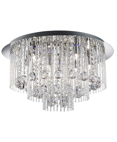 Searchlight Beatrix Blue Led Flush Ceiling Light - Chrome - Crystal Drops
