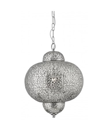Searchlight Moroccan Single Pendant - Shiny Nickel - Elaborate Patterned Finish