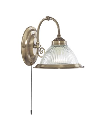 Searchlight American Diner Pull Cord Wall Light - Antique Brass - Clear Glass
