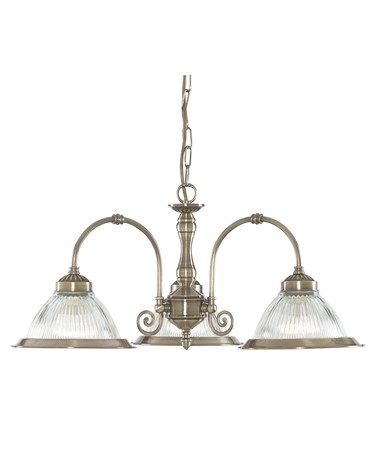 Searchlight American Diner 3 Light Pendant - Antique Brass - Clear Glass