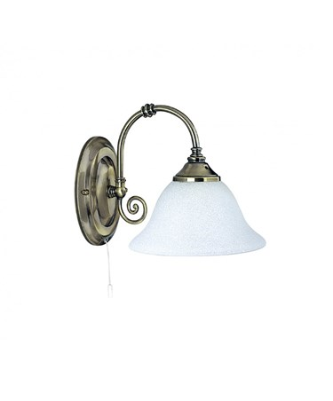 Searchlight Virginia Single Wall Light - Antique Brass - White Scavo Glass