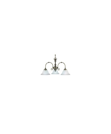 Searchlight Virginia 3 Light Fitting - Antique Brass - White Scavo Glass