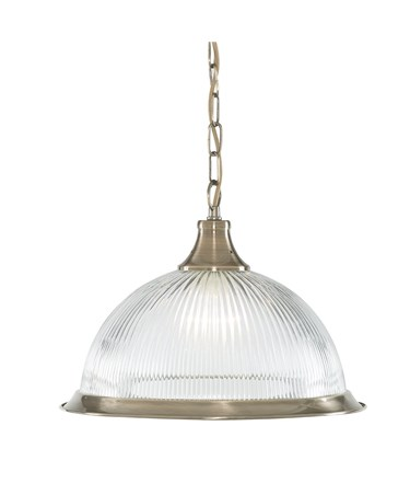 Searchlight American Diner Pendant Light - Antique Brass - Clear Glass