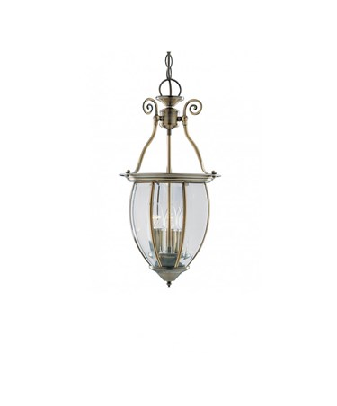 Searchlight Curved Lantern 3 Candle Pendant - Antique Brass - Bevelled Glass