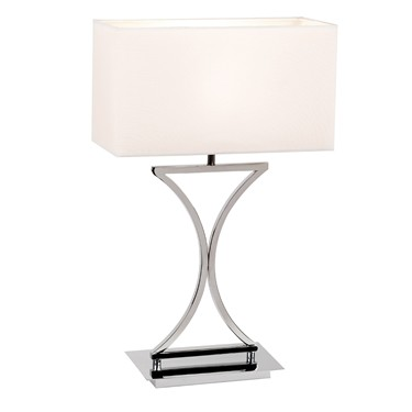 Endon Epalle Table Lamp - Chrome Plate - White Cotton Shade