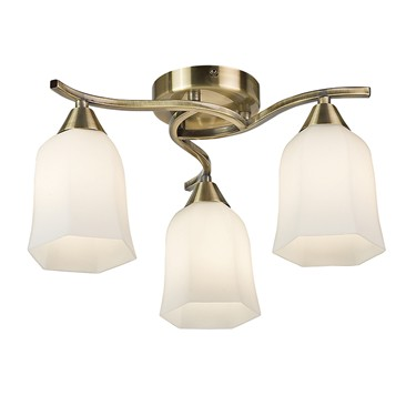 Endon Alonso Semi Flush Ceiling Light - Antique Brass With Opal Glass