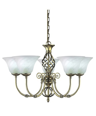 Searchlight Cameroon 5 Light Pendant - Antique Brass -Marble Glass