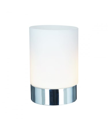 Searchlight Chrome Cylinder Touch Table Lamp - Chrome - Opal White Glass Shade