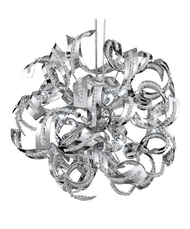 Searchlight Curls  12 Light Pendant - Glass Beads - Chrome