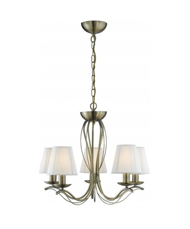 Searchlight Andretti  5  Light Pendant - Antique Brass - Cream String Shades