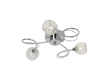 Endon Aherne Silver Flush Ceiling Fitting - 3 Light