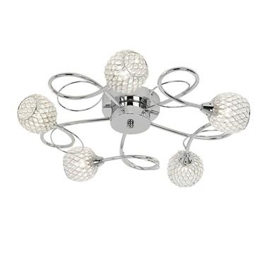 Endon Aherne Semi Flush Ceiling Light - Chrome With Mesh & Clear Beads - 5 Light