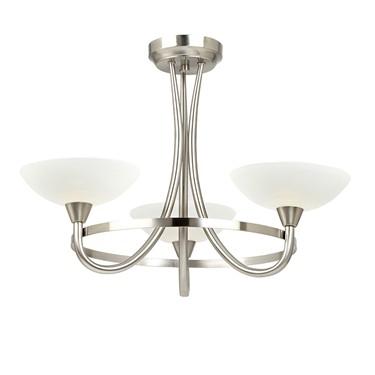Endon Cagney Semi Flush Ceiling Light - Chrome - 3 Light